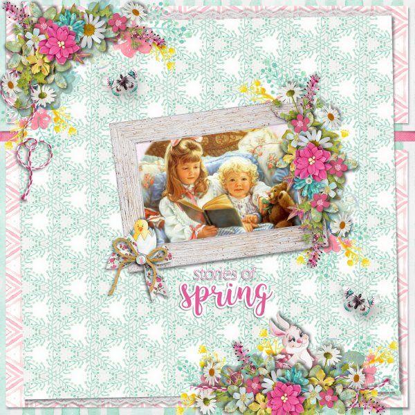 Kit Spring Awakening by Valentina Pellitteri (Valentina Creations). Template Sunny Day #5 by Heartstrings Scrap Art.