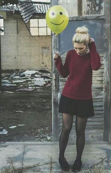 Grunge. Dark outfit. Burgundy sweatshirt and black skirt and black creepers