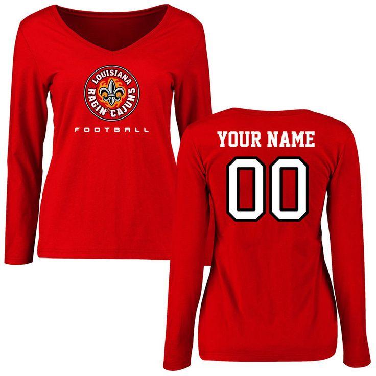 Louisiana-Lafayette Ragin Cajuns Women's Personalized Football Slim Fit Long Sleeve T-Shirt - Red