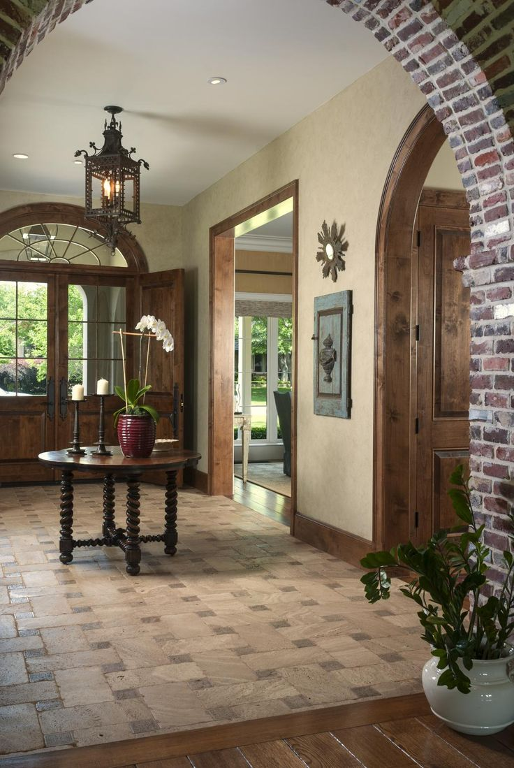 Best 25 stone tile flooring ideas on pinterest tile floor patterned stone tiles in the entrance hall contrast and complement the wide plank wood floors used dailygadgetfo Image collections