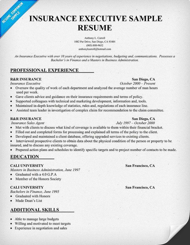 Insurance Executive Resume Sample resumecompanion – Insurance Resume Template