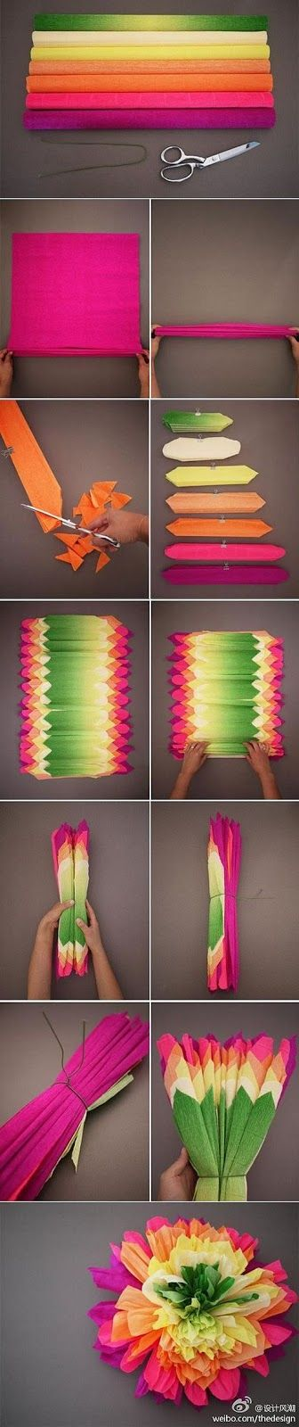DIY: flores de papel de seda multicolor