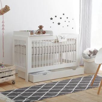 Babybett RAUMWUNDER mit Wickelaufsatz, weiß, 120x60cm, Schlupfsprossen, umbaubar