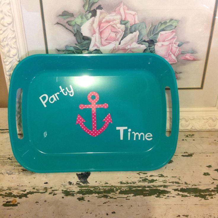 Aqua party time platter by ShabbyDiva98 on Etsy