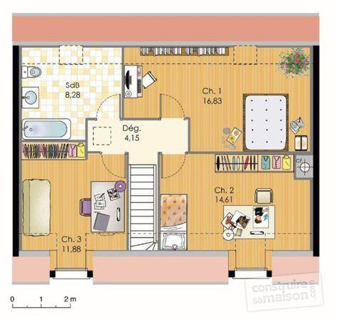 Plan habillé Etage - maison - Maison BBC
