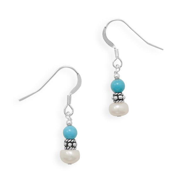 Sterling silver french wire earrings with 5mm cultured freshwater pearls, 4mm turquoise beads, and sterling silver accent beads. Handmade in Austin, Texas using the finest American or imported materia
