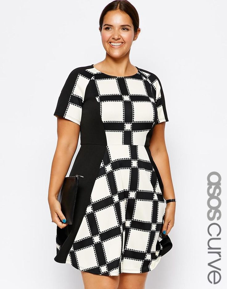 ASOS Curve | ASOS CURVE Exclusive Scuba Skater Dress In Window Print at ASOS