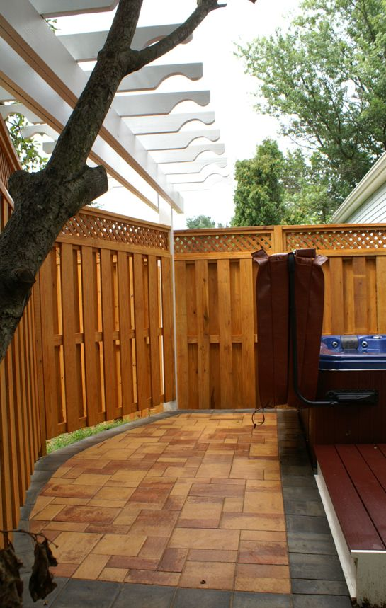 Outstanding Privacy Fence Around Hot Tub With Redwood Privacy Lattice Top  Fence Panel Also French Pattern