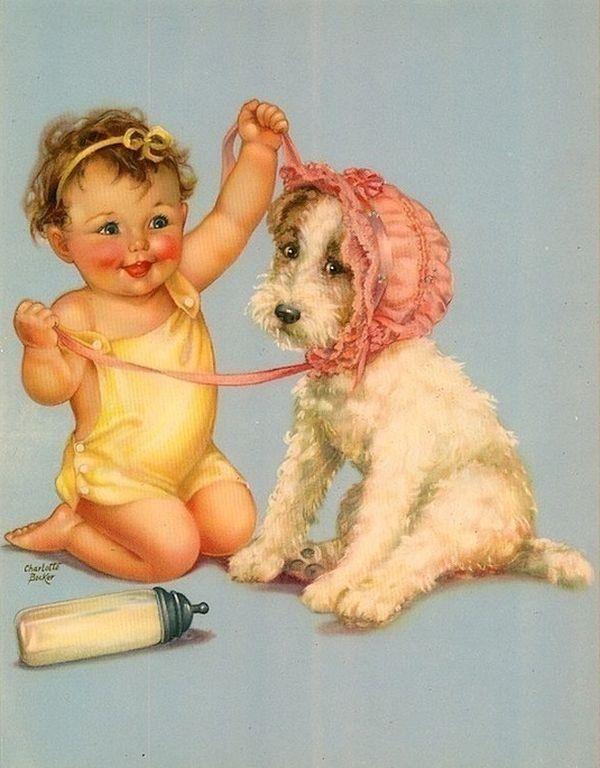 Старинные открытки дети и животные, бокалами для