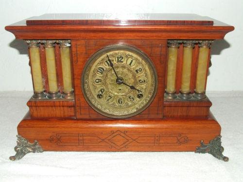 Antique SETH THOMAS Triple Column Adamantine Mantel Clock