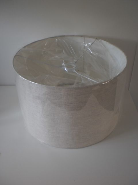 large lampshade in natural linen with film to protect from dust - Large Lamp Shades