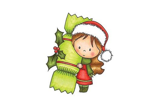 Wild Rose Studio Clear Stamp Mia With Cracker Christmas