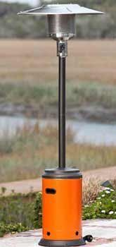 """Mocha and Tuscan Orange Powder Coated Patio Heater . $174.99. Our Mocha and Tuscan Orange Powder Coated Patio Heater is the perfect way to extend your backyard entertaining season. This sturdy unit produces 46,000 BTU's using a standard 20 lb. propane tank and has wheels for easy mobility. The """"on-trend"""" mocha and tuscan orange finish perfectly accents and enhances your patio decor while coordinating with many popular fabrics in high-end patio furniture groups. This hand..."""