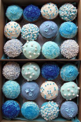 blue and blue cupcakes: Cupcakes Recipes, Blue Cakes, Shades Of Blue Cupcakes, Something Blue, Desert Recipes, Cakes Wedding, Frostings Cupcakes, Blue Wedding, Baby Shower