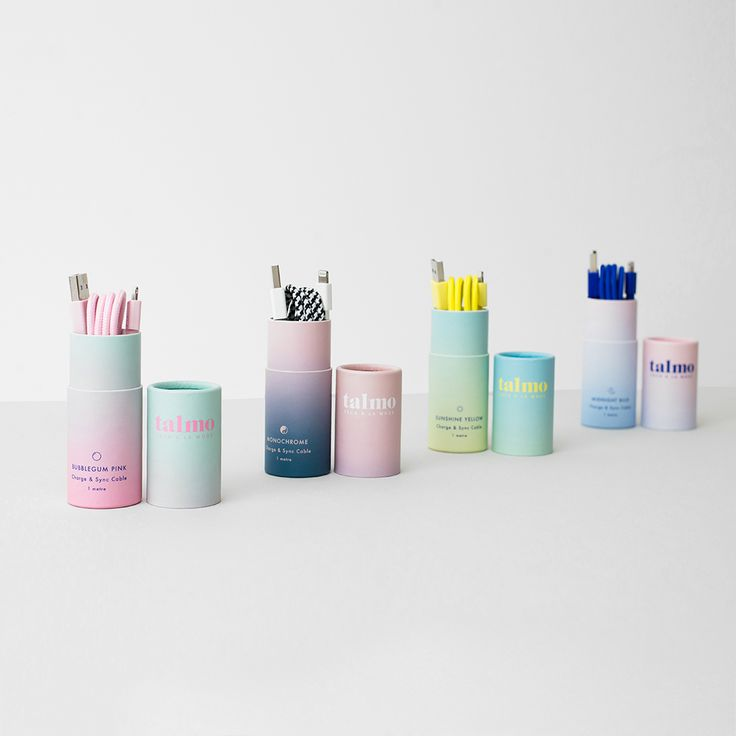 talmo iPhone Charge & Sync Cables with gradient packaging #packagingdesign #chargingcable #packaging #gradient #pastel