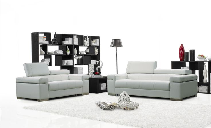 J&M Furniture Soho White Leather Sofa Set SKU17655111
