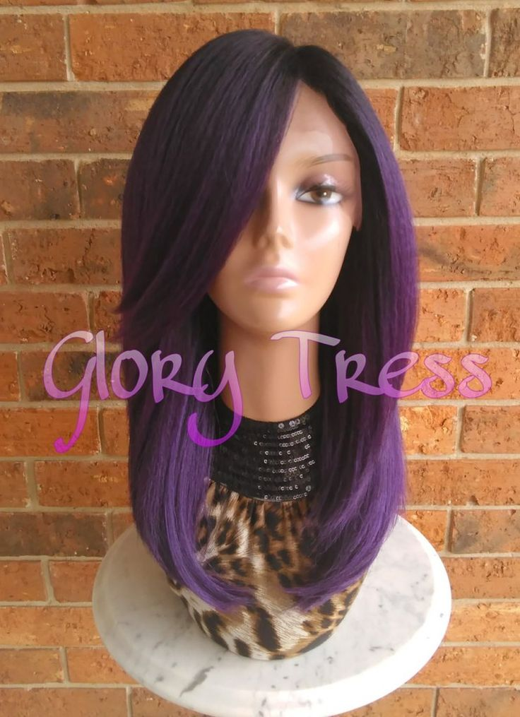 Kinky Straight Lace Front Wig, Yaki Straight Purple Wig, Blown Out Hairstyle, Free Parting Closure // DECLARE (Free Shipping)