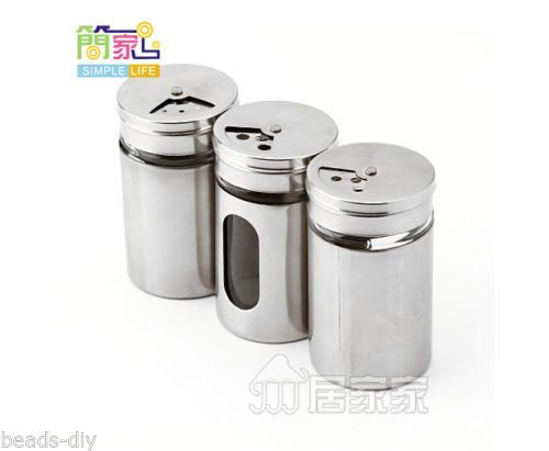 1PC BD Silver Stainless Steel Spice Box Spice Bottle BBQ Condiment Storage Case
