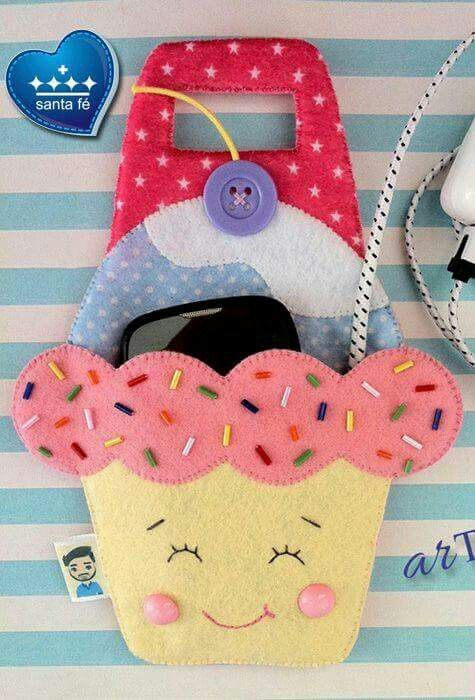 Cupcake porta telefone