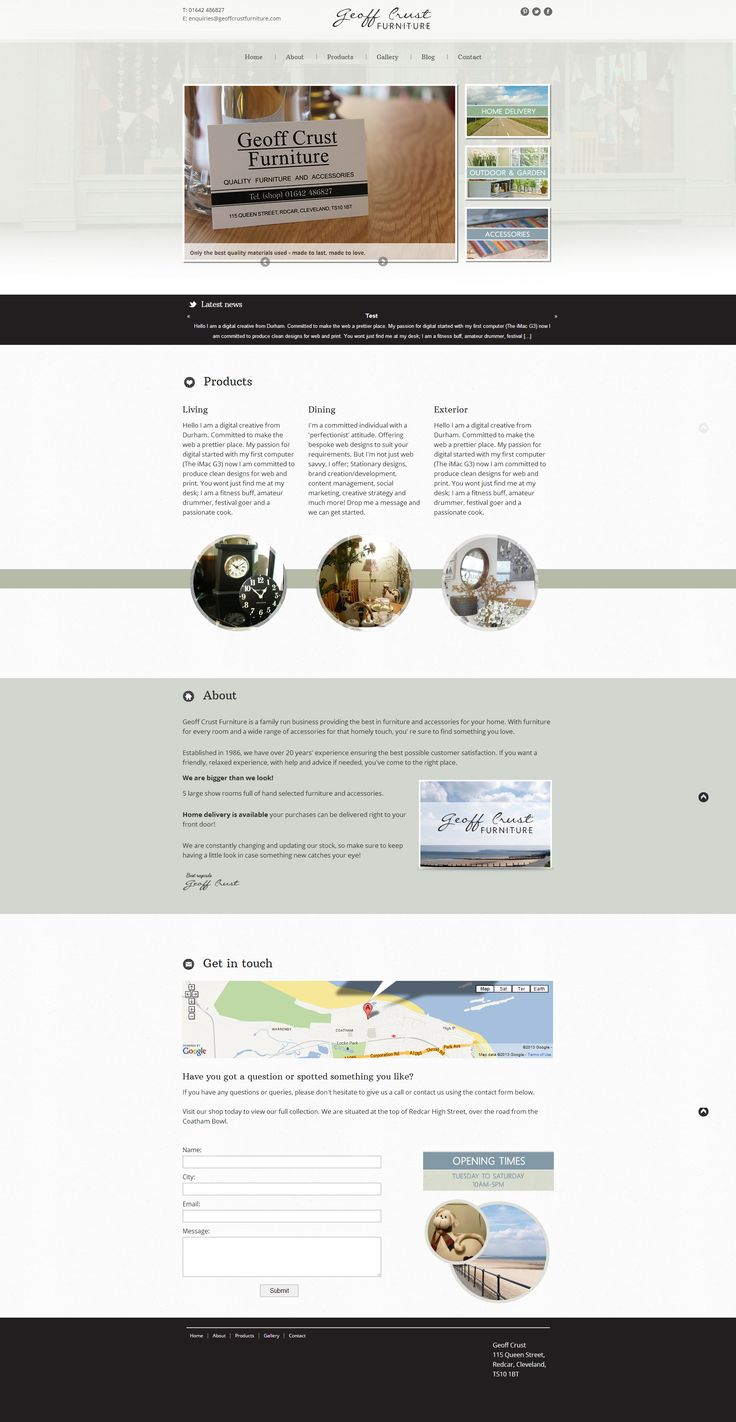 Geoff Crust Furniture - #OnePage #BespokeDesign #LogoDesign #Photography  - Website coming live;  www.geoffcrustfurniture.com