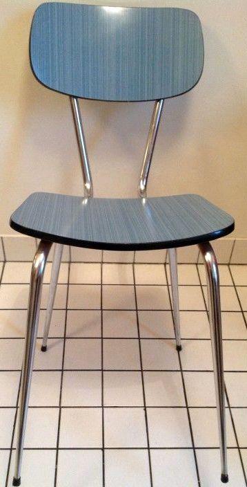 Chaise de cuisine formica bleu ann es 50 60 cuisine for Chaise annee 80