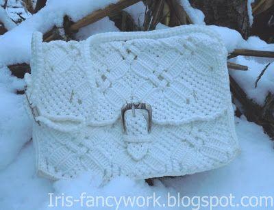 My Fancywork Blog: Белая сумочка с клапаном в технике макраме.