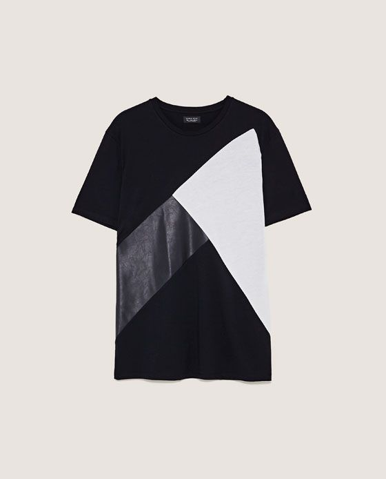 Image 6 of T-SHIRT WITH CONTRASTING PANELS from Zara