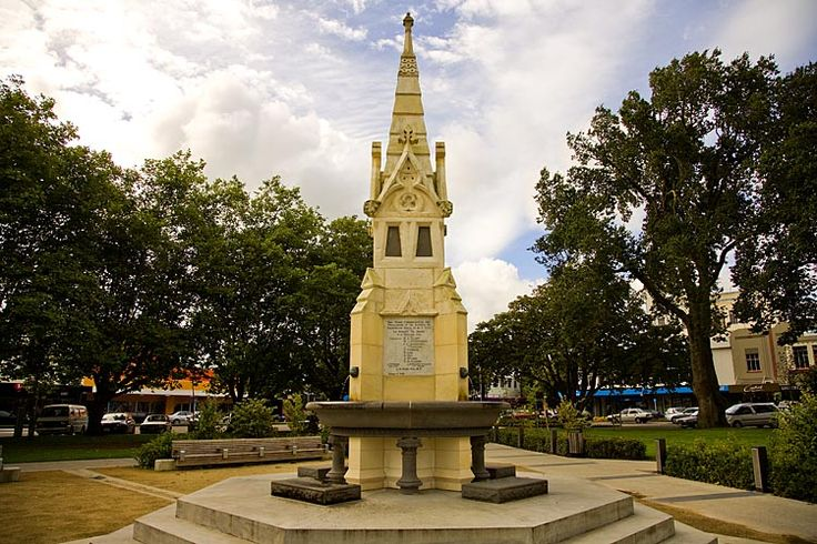 Dual purpose memorial, on one side celebrating the coronation, the other, the founding of, Palmerston North, see more at New Zealand Journeys app for iPad www.gopix.co.nz