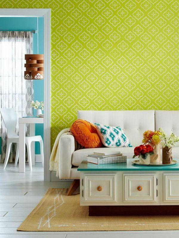 Mer enn 25 bra ideer om Wandfarben muster på Pinterest - wohnzimmer grun orange