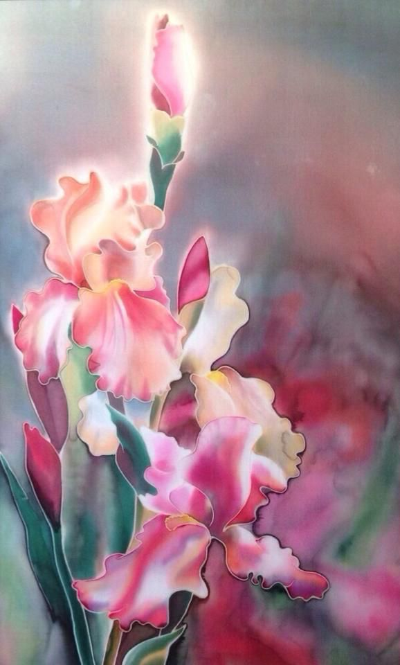 "Silk, painting, ""Tenderness """
