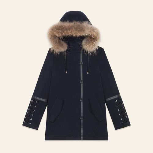 GOBY Cropped parka with laced detail - Coats - Maje.com