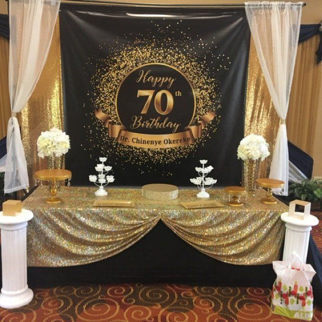50th Birthday Party Backdrop Black And Gold Fifty And Etsy