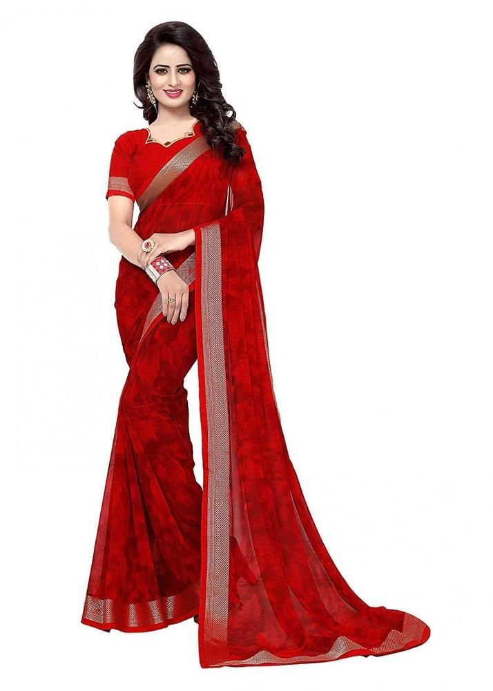e22d3622c1c Indian Bollywood Designer Party Wear Chiffon Crimson Red Print Saree  OOMPH   Beauty