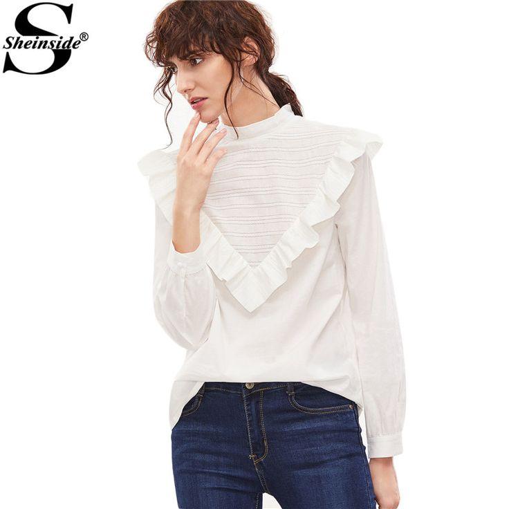 Sheinside Cute Korean Clothes Women's Streetwear Fashion Tops 2017 Women White Buttoned Back Ruffle Trim Embroidered Blouse