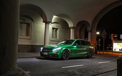 Download wallpapers night, 2017 cars, Mercedes-AMG C63, Wimmer, tuning, C-class, Mercedes