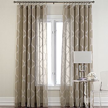 Love these drapes in birch and without the drapery rings.
