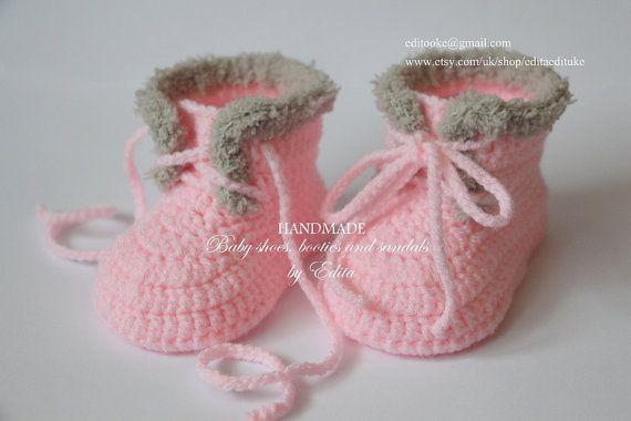 Crochet baby booties baby shoes baby girl boots by editaedituke