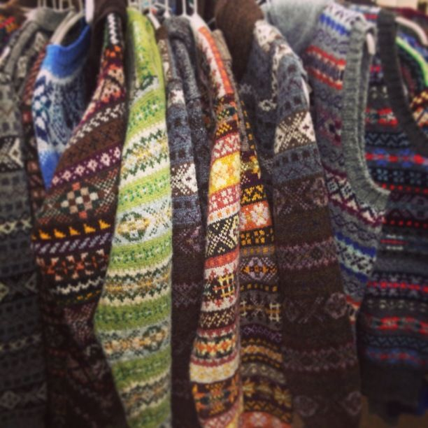 Jamieson's of Shetlands, Lerwick, Scotland — by Julia. These sweaters (or jumpers) are made in the classic Fair Isle style, lots of colors and…