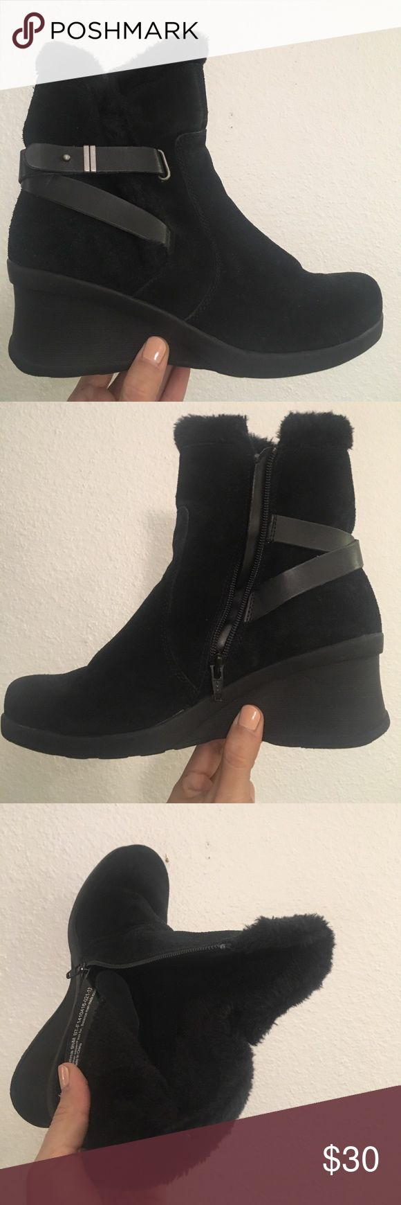 Winter wedge boot. Cute black wedge boots with straps and in great condition. Almost brand new! Comfortable! Size 9.5. bare traps  Shoes Ankle Boots & Booties