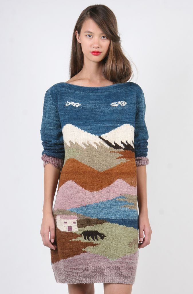 Hand Knit Landscape Sweater Dress (Medium-Large)