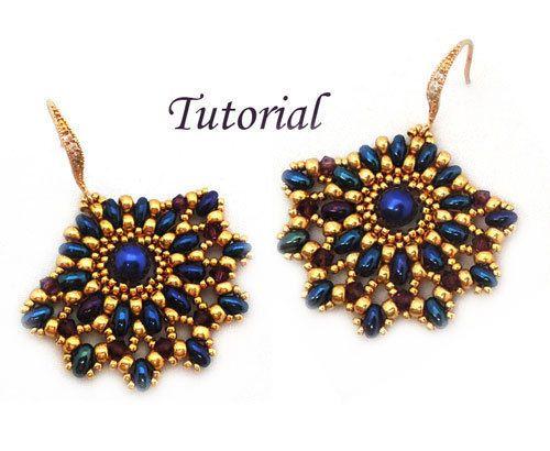 Tutorial Ladies Fan Earrings  Beading pattern with Twin by Ellad2, $5.00