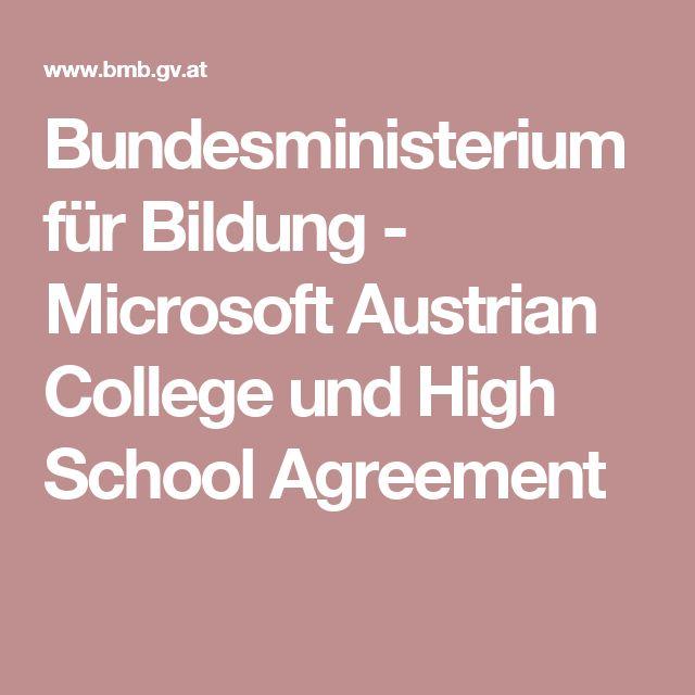 Bundesministerium für Bildung - Microsoft Austrian College und High School Agreement
