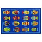 Fun Time Fish Tank Blue 3 ft. 3 in. x 4 ft. 10 in. Area Rug