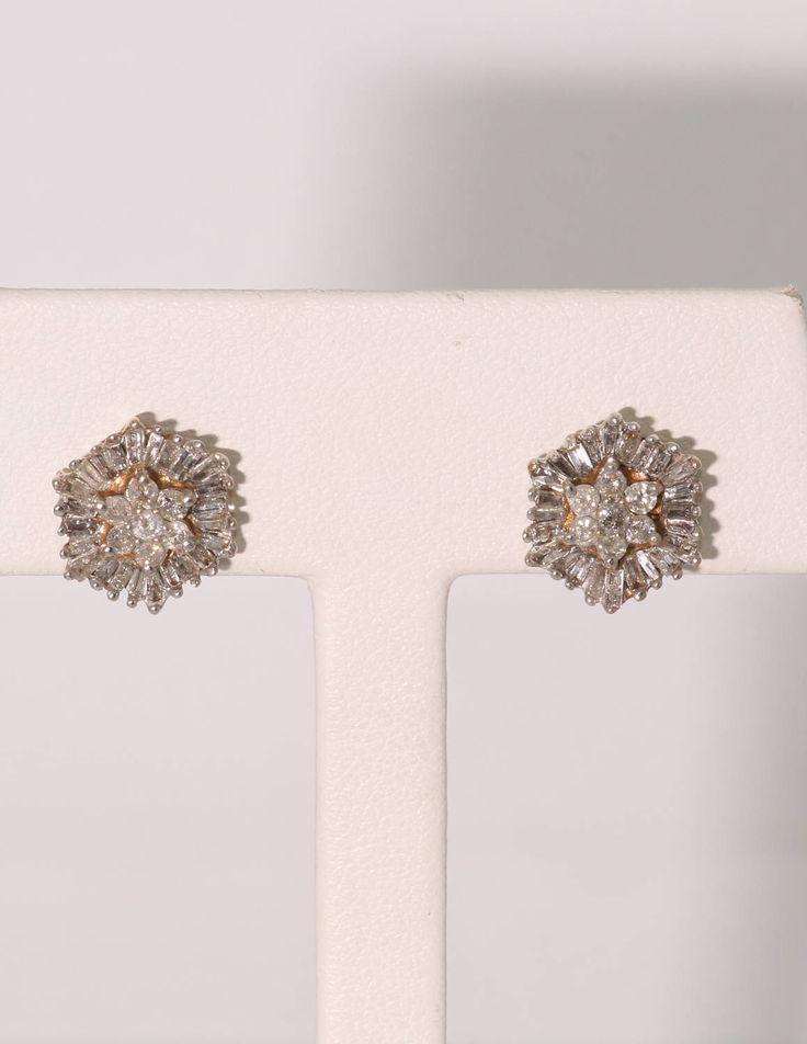 10K Yellow Gold Two Carat Diamond Earrings.  Vintage, Estate. Pierced Ears.  I1-I2. H-I  Rounds & Baguettes by SherrysVintageRings on Etsy https://www.etsy.com/listing/521629217/10k-yellow-gold-two-carat-diamond
