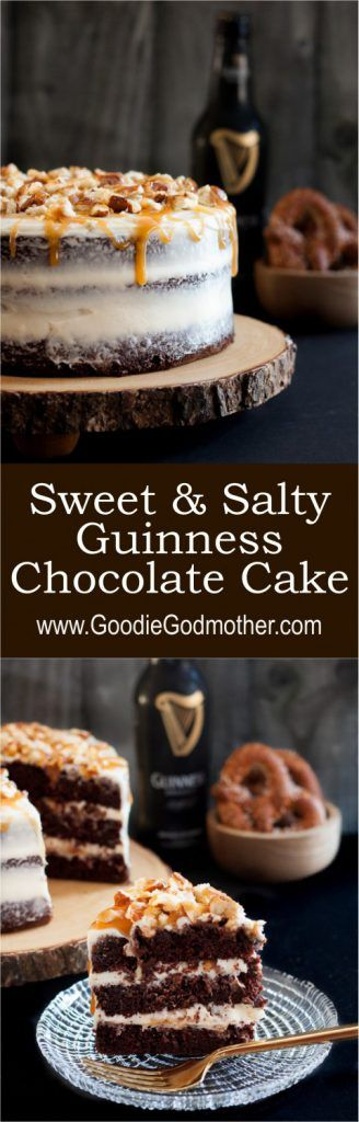 "Quite possibly the ultimate ""man cake"" - this Sweet and Salty Guinness Chocolate Cake is everything. * Recipe on GoodieGodmother.com"