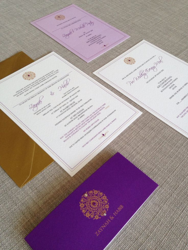 @revadesign Purple & Gold Indian wedding invitation. Belly Band concept with purple diamonti details. Contact us for more details