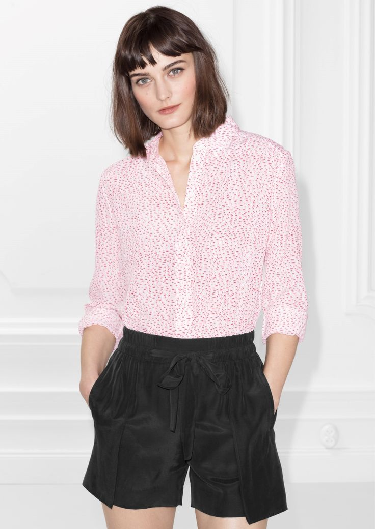 Other Stories image 2 of Silk Shirt in Pink Print