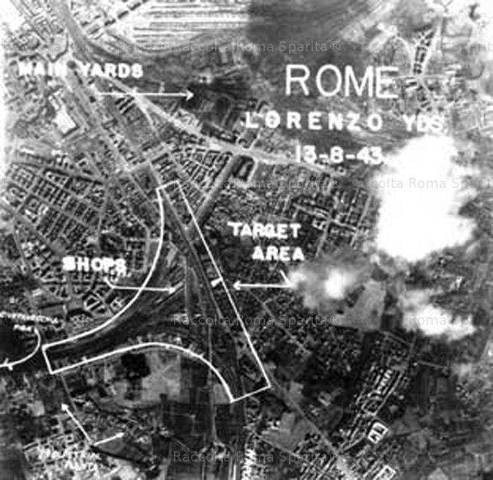 Foto storiche di Roma - Foto scattata dai bombardieri in azione su San Lorenzo Anno: 13 agosto 1943