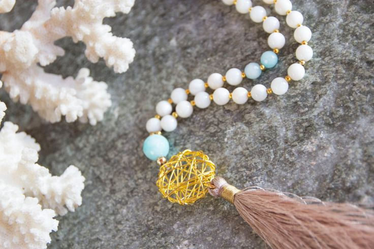 Long white Tassel necklace -Summer Necklace - Statement Necklace - White and light blue Gemstone beaded Necklace with Gray Silk Tassel - pinned by pin4etsy.com