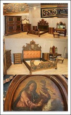 Camera da letto laccata e dorata testiera letto originale del 700 Antiquariato su Arsantik
